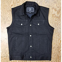 Classic Button Front Denim Vest by IK Leather- Black