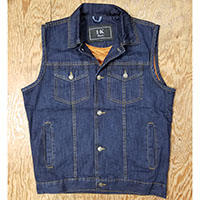 Classic Button Front Denim Vest by IK Leather- Blue