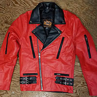 British Style 2 Tone Leather Biker Jacket- RED/BLACK