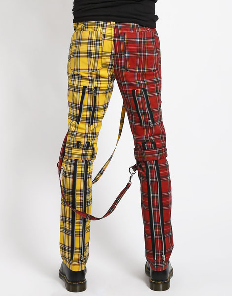 Split Leg Bondage Pants w Straps by Tripp NYC - Unisex Red & Yellow Plaid