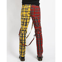 Split Leg Plaid Bondage Pants w Straps by Tripp NYC - red/yellow - unisex