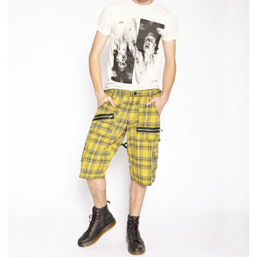 Bondage Shorts w Straps by Tripp NYC -  in Yellow Plaid