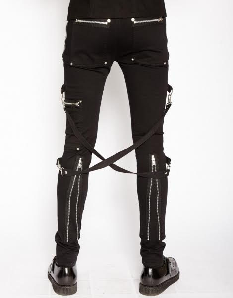 Chaos Super Skinny Bondage Pants w Straps by Tripp NYC in Black