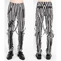 Classic Bondage Pants w Straps by Tripp NYC - Black & White Stripe