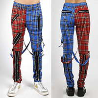Split Leg Madness Unisex Bondage Pants w Straps by Tripp NYC - Blue & Red Plaid
