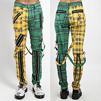 Split Leg Madness Unisex Bondage Pants w Straps by Tripp NYC - Green & Yellow Plaid