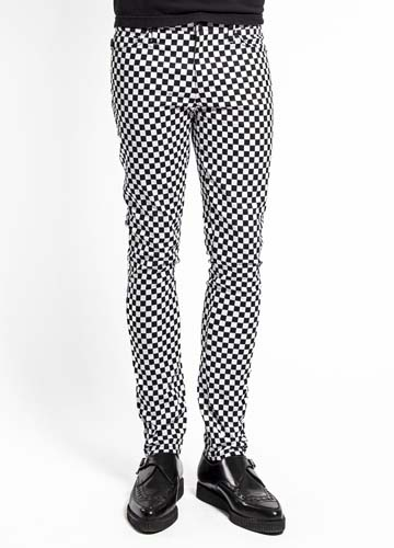 Tripp NYC Rocker Black & White Checker Board Skinny Stretch Jeans