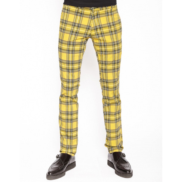 Tripp NYC Top Cat Yellow Tartan Skinny Stretch Jeans