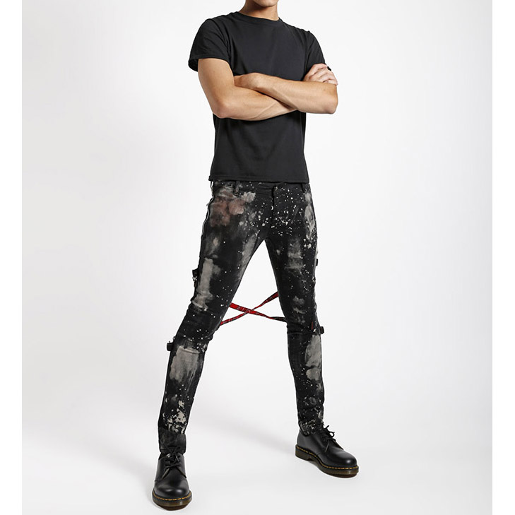 Chaos - Super Skinny Bleached Bondage Pants w Red Plaid Straps by Tripp NYC  - black with bleach stains