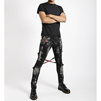Chaos Super Skinny Bleached Bondage Pants w Red Plaid Straps by Tripp NYC - black with bleach stains