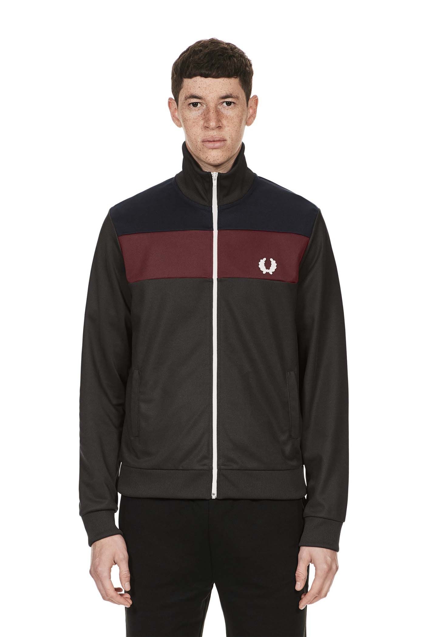 Fred Perry Colour Block Track Jacket- Anthracite (Sale price!)