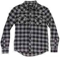 Kustom Kreeps Western Button Up Long Sleeve Guys Shirt by Sourpuss - Black & White Plaid - SALE