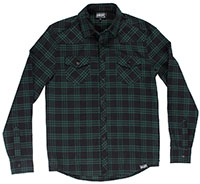 Kustom Kreeps Western Button Up Long Sleeve Guys Shirt by Sourpuss - Green Plaid -SALE