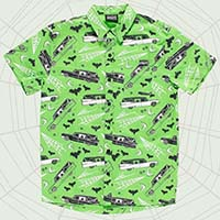 Kustom Kreeps Death Cab Button Up Short Sleeve Guys Shirt by Sourpuss - Hearse Print