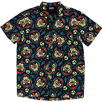 Kustom Kreeps Wolfman Button Down Short Sleeve Guys Shirt by Sourpuss - SALE