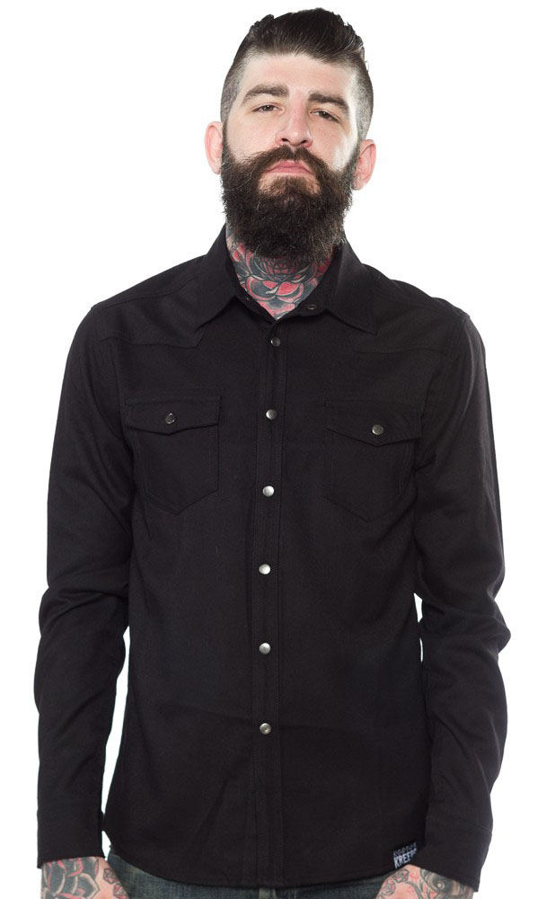 Kustom Kreeps Western Button Up Long Sleeve Guys Shirt by Sourpuss - in Black - SALE sz 2X only