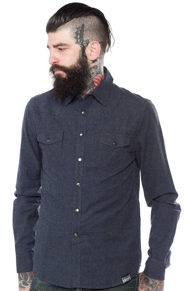 Kustom Kreeps Western Button Up Long Sleeve Guys Shirt by Sourpuss - in Blue - SALE