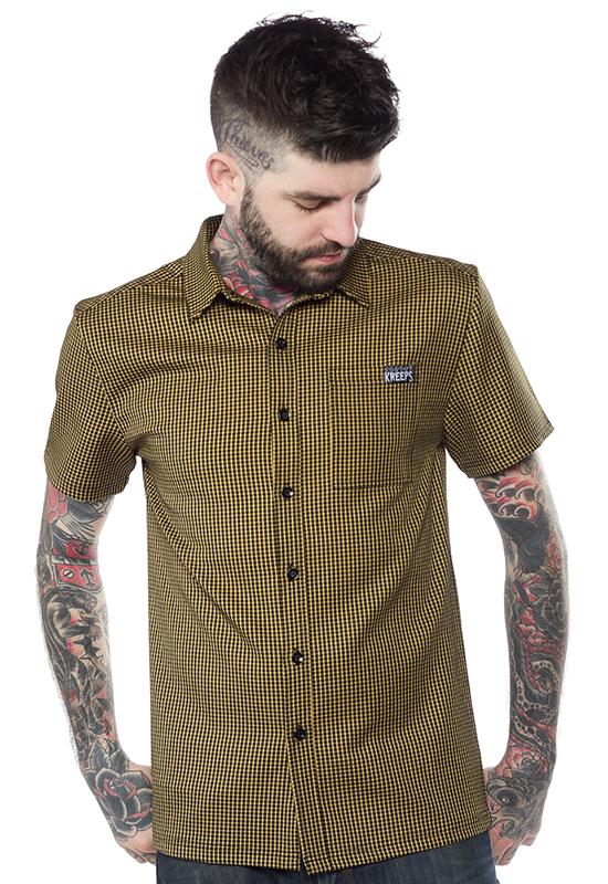 Kustom Kreeps Check Button Down Guys Shirt by Sourpuss - in Mustard