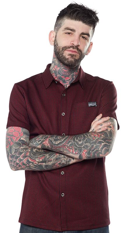 Kustom Kreeps Check Button Down Guys Shirt by Sourpuss - in Oxblood - SALE sz 2X only