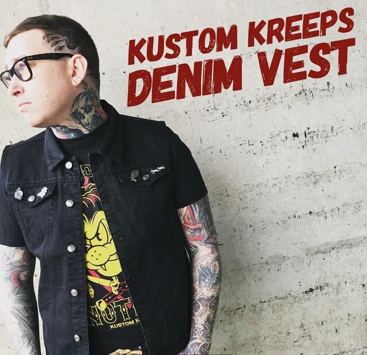Black Denim Vest by Kustom Kreeps / Sourpuss