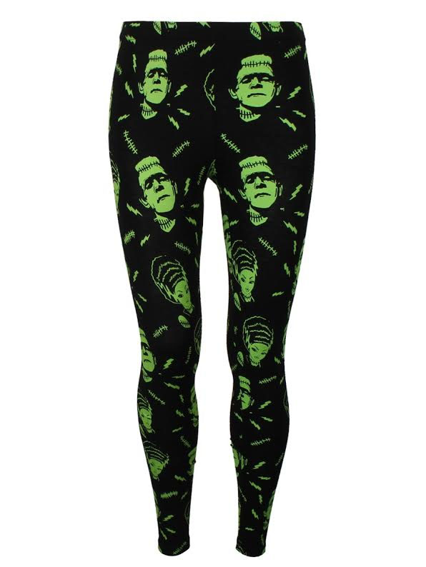 Plus Size Frankenstein & Bride Leggings by Banned Apparel