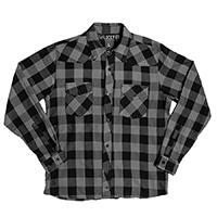 Rincon 100% Cotton Long Sleeve Western Flannel shirt by Lucky 13 - grey