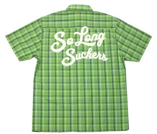 So Long Sucker Plaid short sleeve button up shirt by Lucky 13 - Green/Black - SALE sz XL only