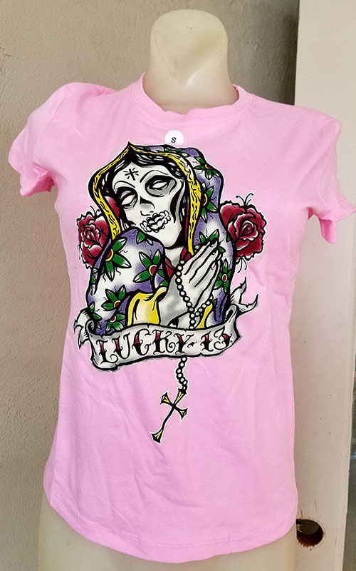Lil Mary girlfriend shirt by Lucky 13 - SALE sz Small only on a pink tee
