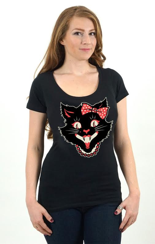 Kitty Pearls Girls Scoop Neck shirt by Lucky 13
