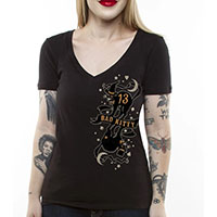 Bad Kitty Women's Deep V Neck shirt by Lucky 13 - on black