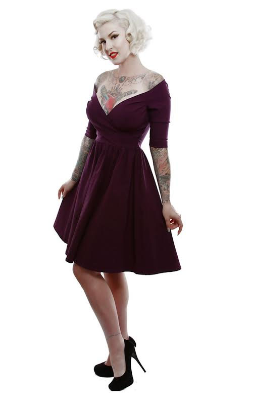 Loren Off Shoulder Bengaline Dress by Lucky 13 - in Plum - SALE sz M only