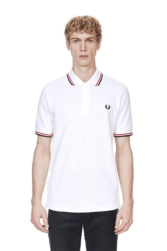 62f8dedf3 Fred Perry Laurel Collection Twin Tipped Polo Shirt- WHITE / RED ...