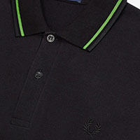 Fred Perry Laurel Collection Twin Tipped Polo Shirt- BLACK / FERN GREEN / BLACK (Made In England!)