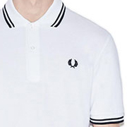 Fred Perry Laurel Collection Twin Tipped Polo Shirt- WHITE / BLACK (Made In England!) sz 46 only