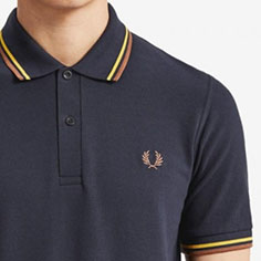 Fred Perry Laurel Collection Twin Tipped Polo Shirt- NAVY / MAIZE / MINK (Made In England!)