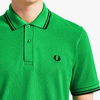 Fred Perry Laurel Collection Twin Tipped Polo Shirt- Fern Green / Black (Made In England!) SALE sz 40 only