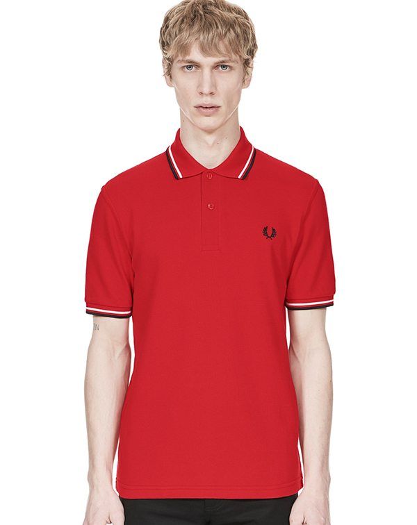 Fred Perry Laurel Collection Twin Tip Polo- Red/ White/ Black (Made In England!)