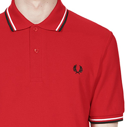 Fred Perry Laurel Collection Twin Tip Polo- Red/ White/ Black (Made In England!) - sz 38 only