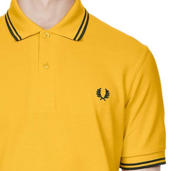 Fred Perry Laurel Collection Twin Tipped Polo Shirt- MAIZE / TARTAN GREEN (Made In England!)