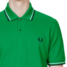 Fred Perry Laurel Collection Twin Tipped Polo Shirt- ISLAND GREEN/SNOW WHITE/NAVY (Made In England!)