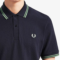 Fred Perry Laurel Collection Twin Tipped Polo Shirt- Navy / Pistachio (Made In England!) (Sale price!)