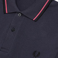 Fred Perry Laurel Collection Twin Tipped Polo Shirt- NAVY / MAGENTA / BLACK (Made In England!)