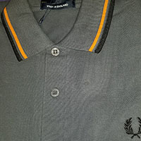 Fred Perry Laurel Collection Twin Tipped Polo Shirt- GRAPHITE / ORANGE / BLACK (Made In England!)