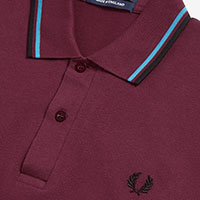 Fred Perry Laurel Collection Twin Tipped Polo Shirt- AUBERGINE / CYAN / BLACK (Made In England!)