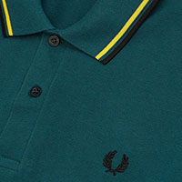 Fred Perry Laurel Collection Twin Tipped Polo Shirt- PETROL / YELLOW / BLACK (Made In England!)