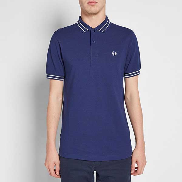 Fred Perry Tramline Tipped Pique Polo Shirt- French Navy (Sale price!)