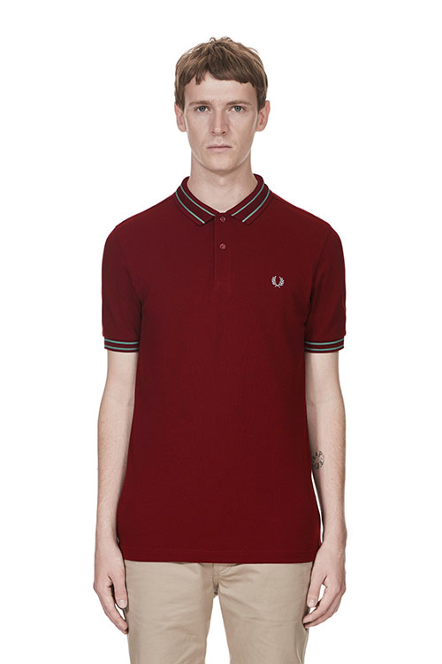 Fred Perry Tramline Tipped Pique Polo Shirt- Rosewood (Sale price!)