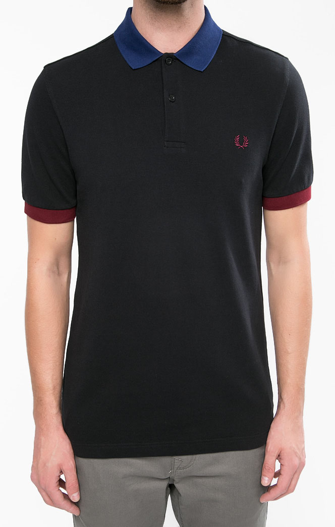 Fred Perry Color Block Pique Polo Shirt- Black