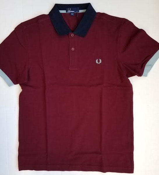 Fred Perry Color Block Pique Polo Shirt- Rosewood - SALE sz XL only - last one