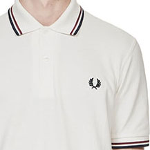 Fred Perry Polo Shirt- Snow White / Maroon / Navy (Sale price!)